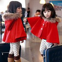 女童2017冬装新款韩版加绒加厚女孩宝宝披肩披风外出服斗篷外套