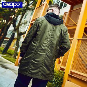 【限时抢购到手价:169元】AMAPO潮牌大码男装秋季胖子肥佬加肥加大宽松中长款风衣外套男潮