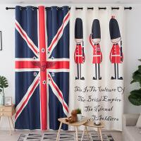 定制窗帘成品现代简约印花英伦风北欧遮光布料卧室卡通米字旗 401-01