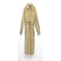 灯笼袖系带薄款中长款女士风衣外套 秋季韩版纯色风衣上衣 卡其色 均码