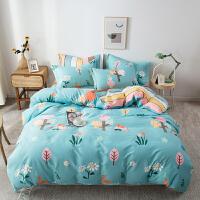 【每满100减50】纯棉四件套全棉被套被罩学生宿舍单人床单1.5米床简约1.8m床上用品
