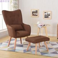 实木脚现代简约沙发卧室阳台布艺单人沙发椅书房椅休闲椅子