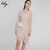 【此商品参加2件2折,预估到手169.8元】Lily春新款女装商务OL时髦不对称印花连衣裙118120C7688