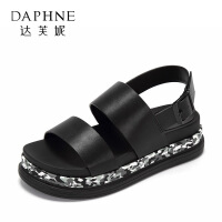 Daphne/达芙妮2017夏正品学生舒适厚底女鞋 百搭拼色一字扣带凉鞋