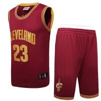 夏季 篮球服骑士队23号詹姆斯球衣V领刺绣运动户外套装男夏 X