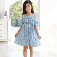 女童连衣裙夏装中大童休闲露肩吊带裙薄款儿童碎花背心裙