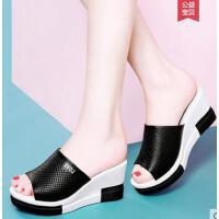 雅诗莱雅夏季新款女士松糕平底舒适外穿夏天百搭厚底女鞋子坡跟凉拖鞋YS-078-2-XS