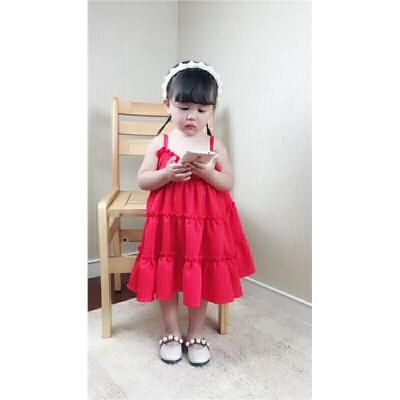 夏季1-3-5岁荷叶摆女童小红裙韩版花边宝宝雪纺吊带裙小童连衣裙 发货周期:一般在付款后2-90天左右发货,具体发货时间请以与客服协商的时间为准