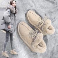 毛毛鞋冬季新款保暖雪地靴学生面包鞋时尚棉鞋女
