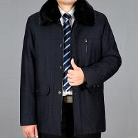 冬季老年人活里活面男装加厚保暖棉衣中年男士爸爸装防寒棉袄 黑色