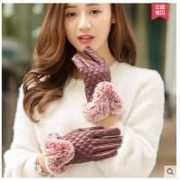 韩版兔毛球加绒厚开骑车手套pu皮手套可爱手套女保暖触屏手套 可礼品卡支付