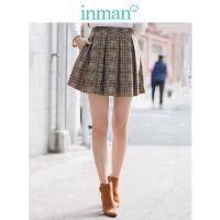茵曼2018新款个性咖啡色百搭显瘦短款格纹裤裙女【F1881099595】