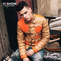viishow冬季新款羽绒服 欧美潮流短款羽绒外套男 多口袋拼色 Y123654