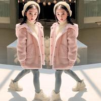 女童大衣童�b冬�b女大童�B帽棉衣�和�拼接外套
