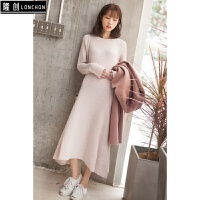 韩版冬装新款两件套长款大口袋毛呢外套+纯色针织连衣裙时尚套装