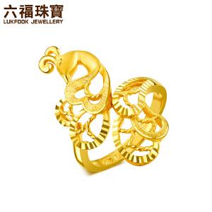 六福珠宝�职�系列黄金戒指孔雀足金戒指女款婚嫁计价HXG40179