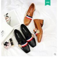 古奇天伦春季韩版百搭方头奶奶鞋英伦小皮鞋中跟单鞋春鞋新款社会女鞋QW05036