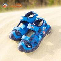 【 买就送价值28元的彩笔】CAMKIDS男童鞋漫威包头凉鞋2018夏季新款儿童沙滩鞋中大童框子鞋