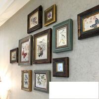 美式混搭实木照片墙 创意个性复古做旧相框组合 客厅餐厅挂墙装饰SN3611