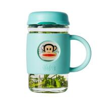 大嘴猴玻璃杯家用水杯带盖办公室花茶杯随手杯带把手便携杯子