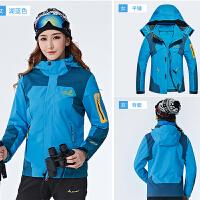 冬季户外冲锋衣男女三合一可拆卸两件套加绒加厚登山服装