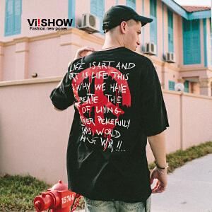 VIISHOW夏装新品圆领套头短袖T恤男纯棉字母印花黑色男士短t