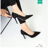 古奇天伦春季新款韩版百搭早春女鞋子尖头高跟鞋女细跟黑色职业工作鞋GH05015