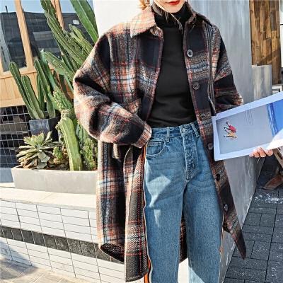 【12.12年终狂欢 到手价:224.7元】七格格毛呢外套女中长款2019新款冬季宽松格子上衣衬衣呢子大衣潮