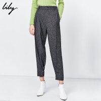 Lily2019冬新款女装气质深花灰修身显瘦小脚锥形裤奶奶裤5918