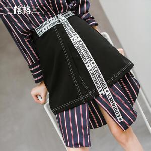 七格格韩版时尚A字裙秋装新款黑色一片式高腰系带字母短半身裙女潮
