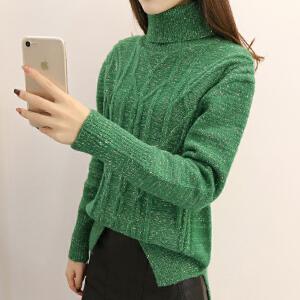 新款高领毛衣女套头短款加厚宽松韩版学生春季针织打底衫长袖百搭