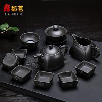 整套紫砂功夫茶具套装原矿紫泥紫砂茶壶盖碗茶海茶杯家用礼品盒装