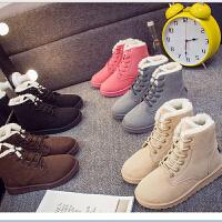 冬季韩版保暖防滑雪地靴女短筒靴潮流女鞋平底加厚加绒女棉鞋