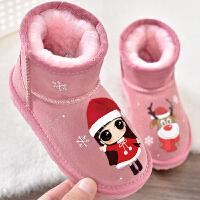 儿童雪地靴冬季女童短靴圣诞节棉靴子宝宝靴子