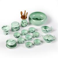青瓷手绘茶具套装功夫茶杯茶壶整套小鱼家用景德镇陶瓷茶艺礼品盒