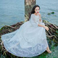 18新款女装春秋款性感一字肩蕾丝连衣裙白色仙女长裙度假沙滩裙