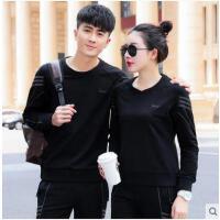 简洁大方韩版圆领长袖套头两件套情侣卫衣宽松韩版潮套装男时尚