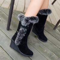 彼艾2016冬季正品女短靴兔毛高跟雪地靴中筒靴坡跟靴子厚绒防滑女棉鞋子女冬