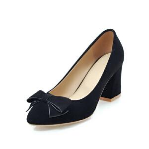 ELEISE美国艾蕾莎新品152-824韩版磨砂绒面高跟粗跟蝴蝶结女士单鞋