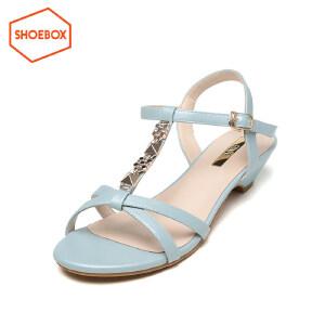 达芙妮旗下SHOEBOX/鞋柜夏季女凉鞋中跟简约时尚休闲凉鞋