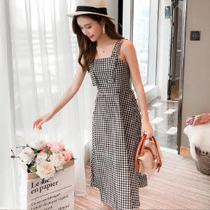AGECENTRE 2018夏季新款 学院风黑白格子背带连衣裙中长款收腰显瘦学生