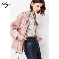 Lily2019秋新款女装时尚刺绣收腰可拆卸帽拉链上衣短外套3925