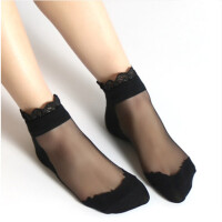 日系蕾丝花边袜子丝袜透明玻璃丝袜水晶袜子女短袜春夏女袜 均码