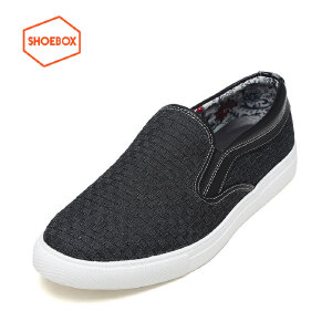 shoebox鞋柜编织拼接运动休闲低帮鞋圆头低跟套脚男鞋