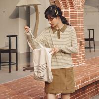 条纹长袖针织衫2020年春季新款女装韩版宽松洋气学院风polo领毛衣