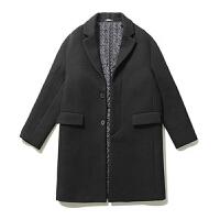 呢子大衣男冬季中长款宽松韩版青年修身长袖加厚双面羊绒毛呢外套 黑色