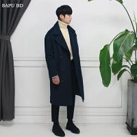 冬季韩国羊毛呢大衣男中长款青年韩版双排扣呢子大衣外套潮