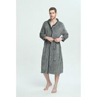 超大码懒人睡袍男女士冬季珊瑚绒加长款及脚踝特大情侣浴袍200斤 灰色 男