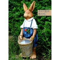 户外花园庭院装饰品摆件花缸园艺动物花盆工艺品雕塑大号 天蓝色 兔子花缸