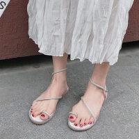 韩版户外时尚女士凉鞋休闲舒适平底鞋配裙子的女鞋潮